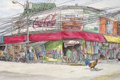 Why did the Chicken Cross the Road - Watercolor, La Ceiba, Honduras
