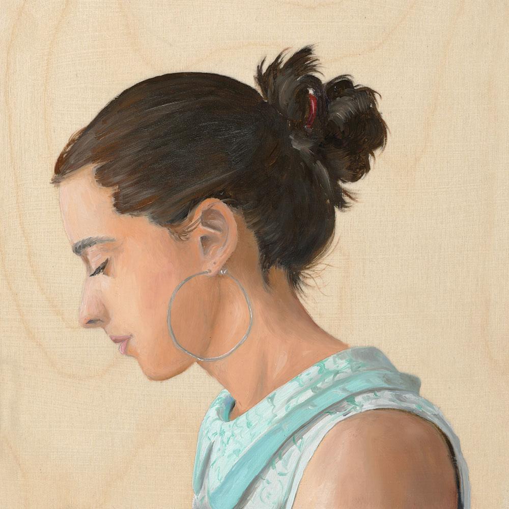 female portrait on wood